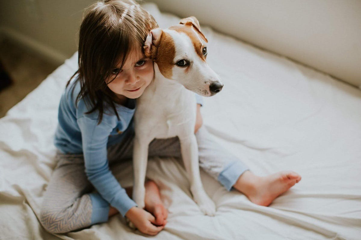 Young girl sits with a dog in her bed